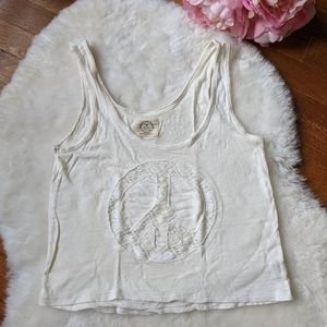 AE peace cropped tank top